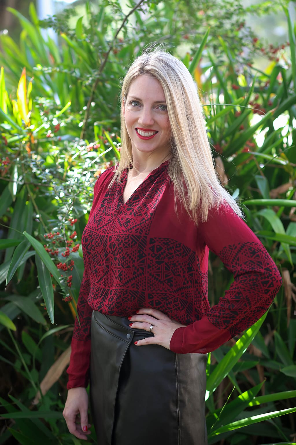 Leather Wrap Skirt with Red blouse