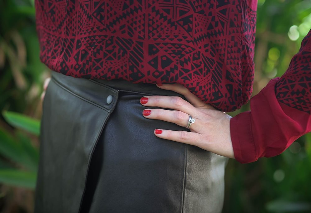 Leather Wrap Skirt Details