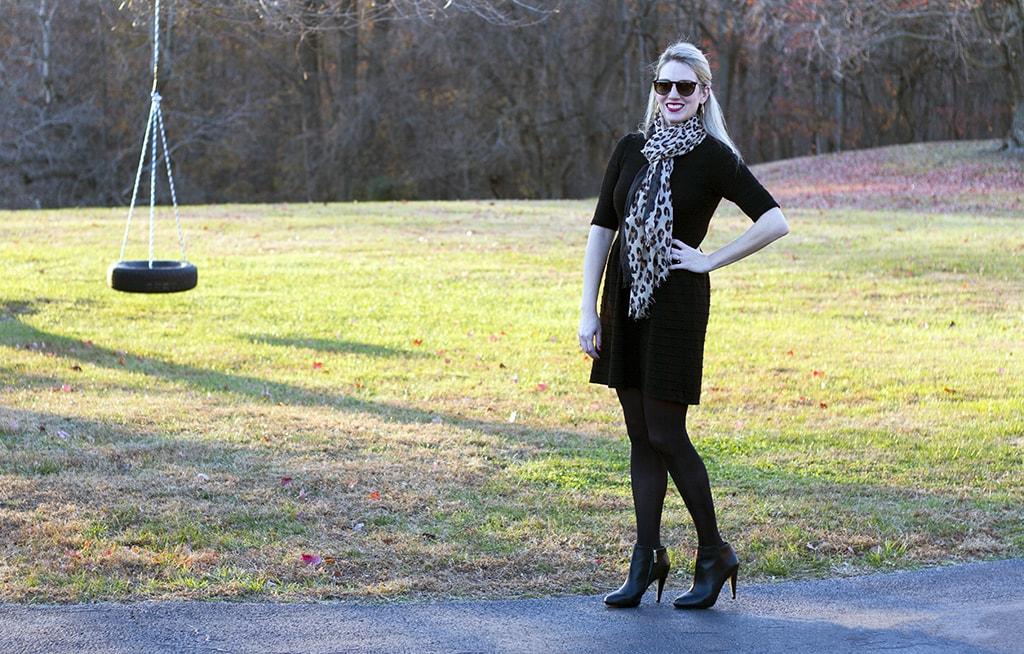 Leopard Scarf Black Dress