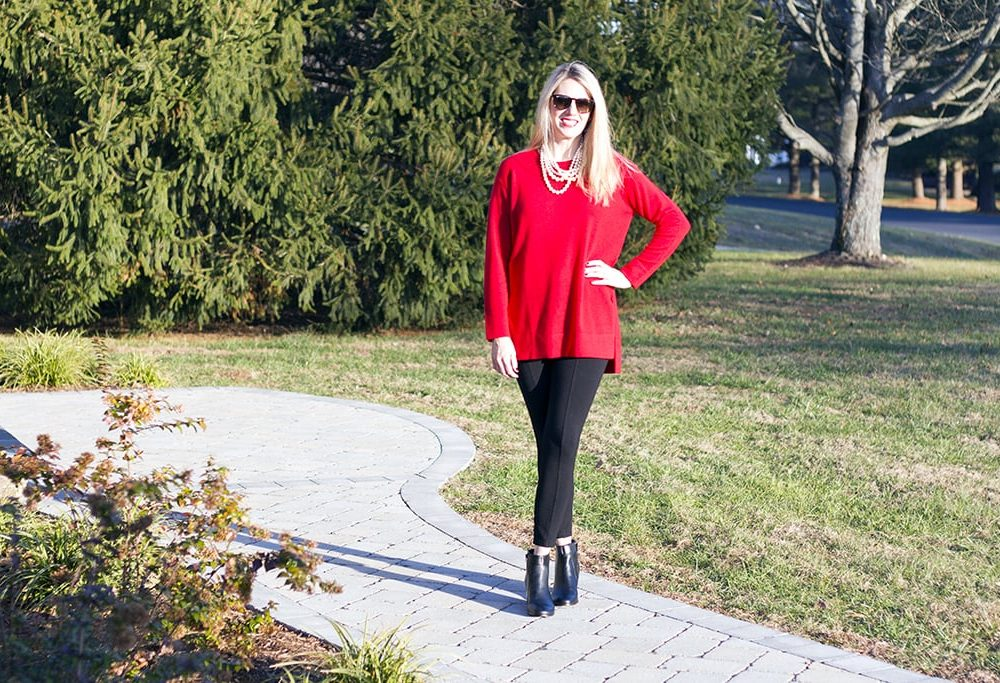 J. Jill Red Sweater Tunic