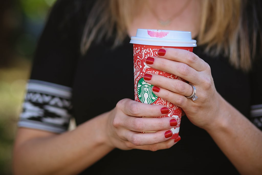 Holding Starbucks Holiday Cup