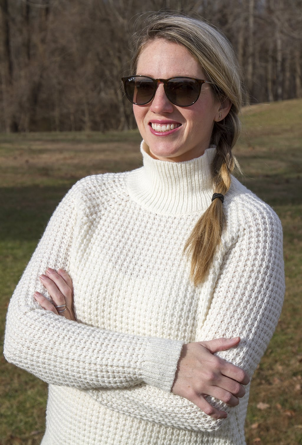 Cream sweater and side braid