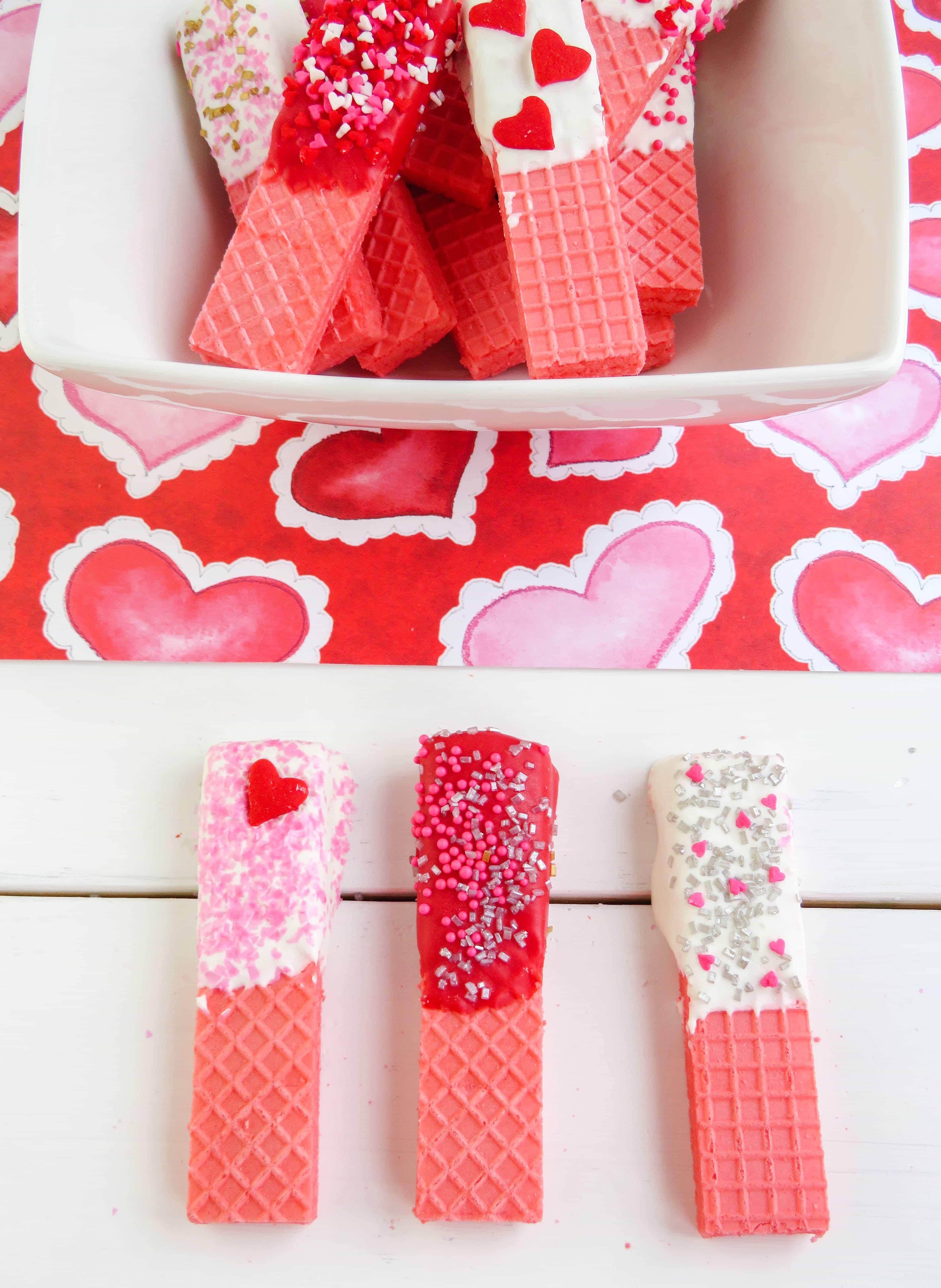 Valentine wafer cookies
