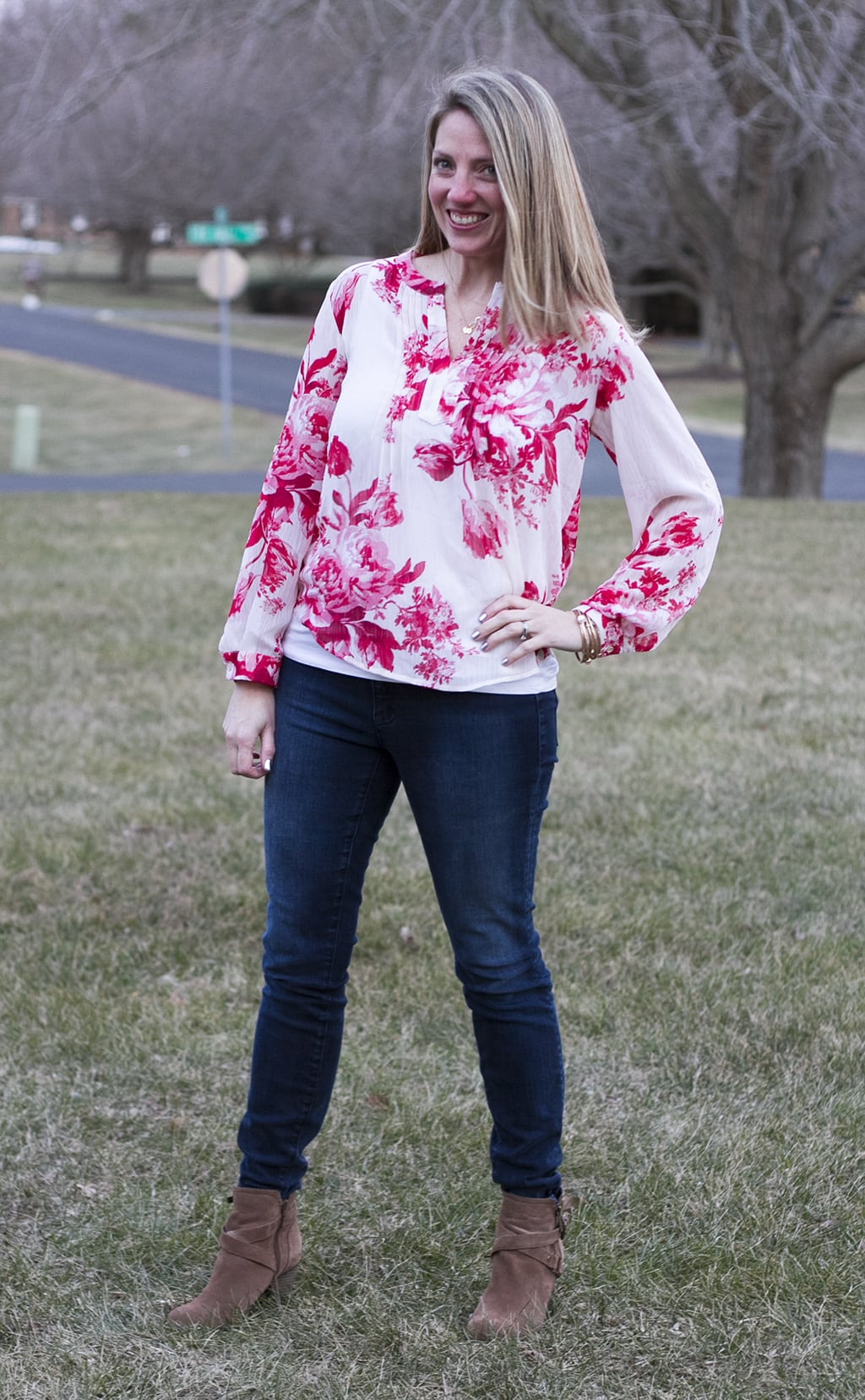 Pink floral blouse