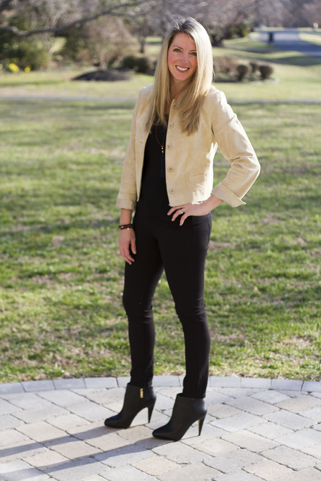 Cropped Suede Jacket and Black Pants