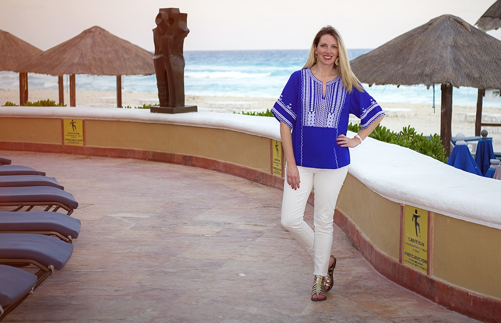 Greek inspired blouse and white frayed jeans