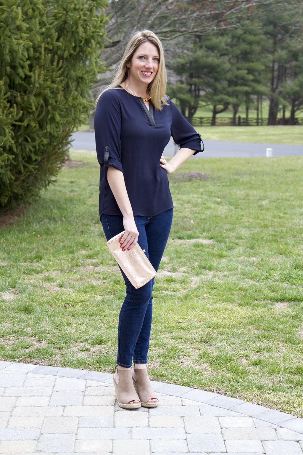 Black and Navy Blouse