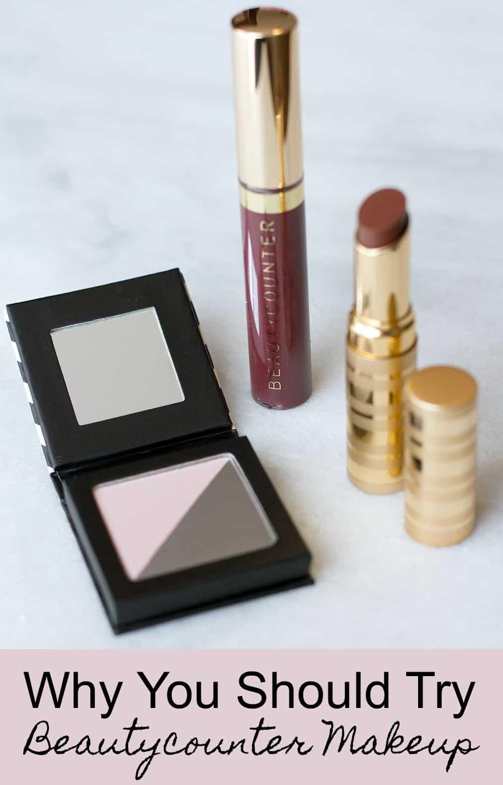 beautycounter lipstock and eyeshadow on marble counter