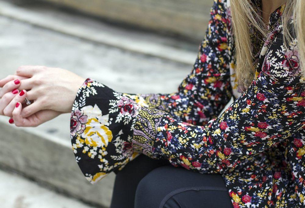 Floral Boho Tunic Sleeve Details
