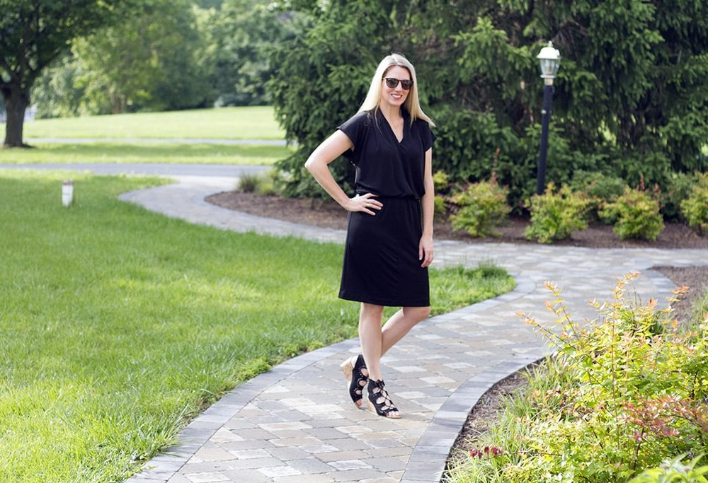 Black Tahari Dress and Gladiator wedges for summer