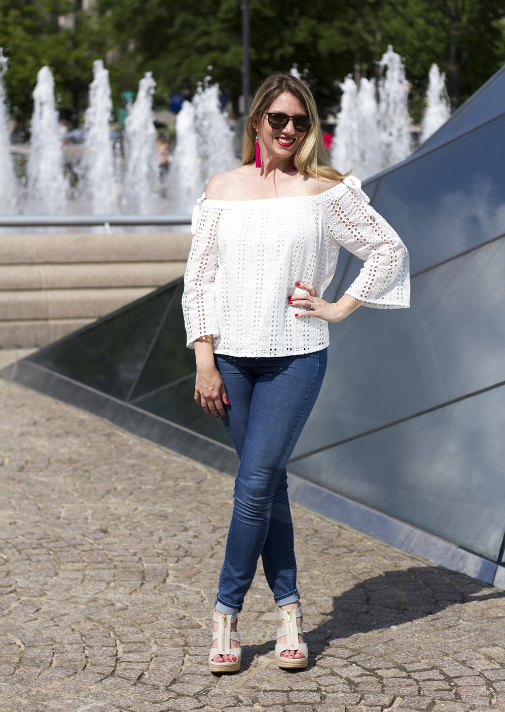 White Eyelet Top - Off-The-Shoulder Summer Look That's Super Versatile! White Eyelet Top with jeans and white wedge shoes