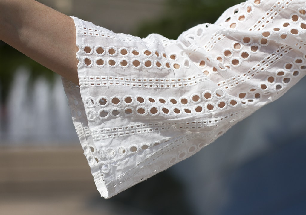 White Eyelet Top - Off-The-Shoulder Summer Look That's Super Versatile! White Eyelet Bell Sleeve Detail