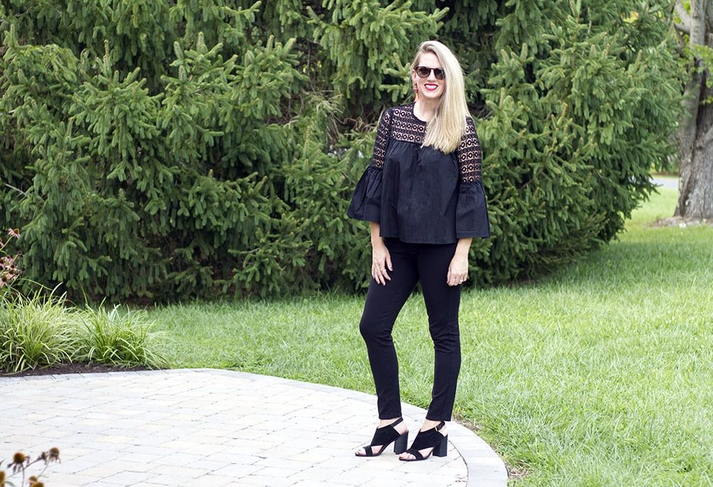 Black Boho Crochet Blouse