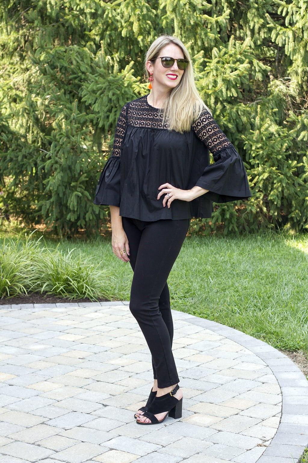 Black Boho Crochet Blouse