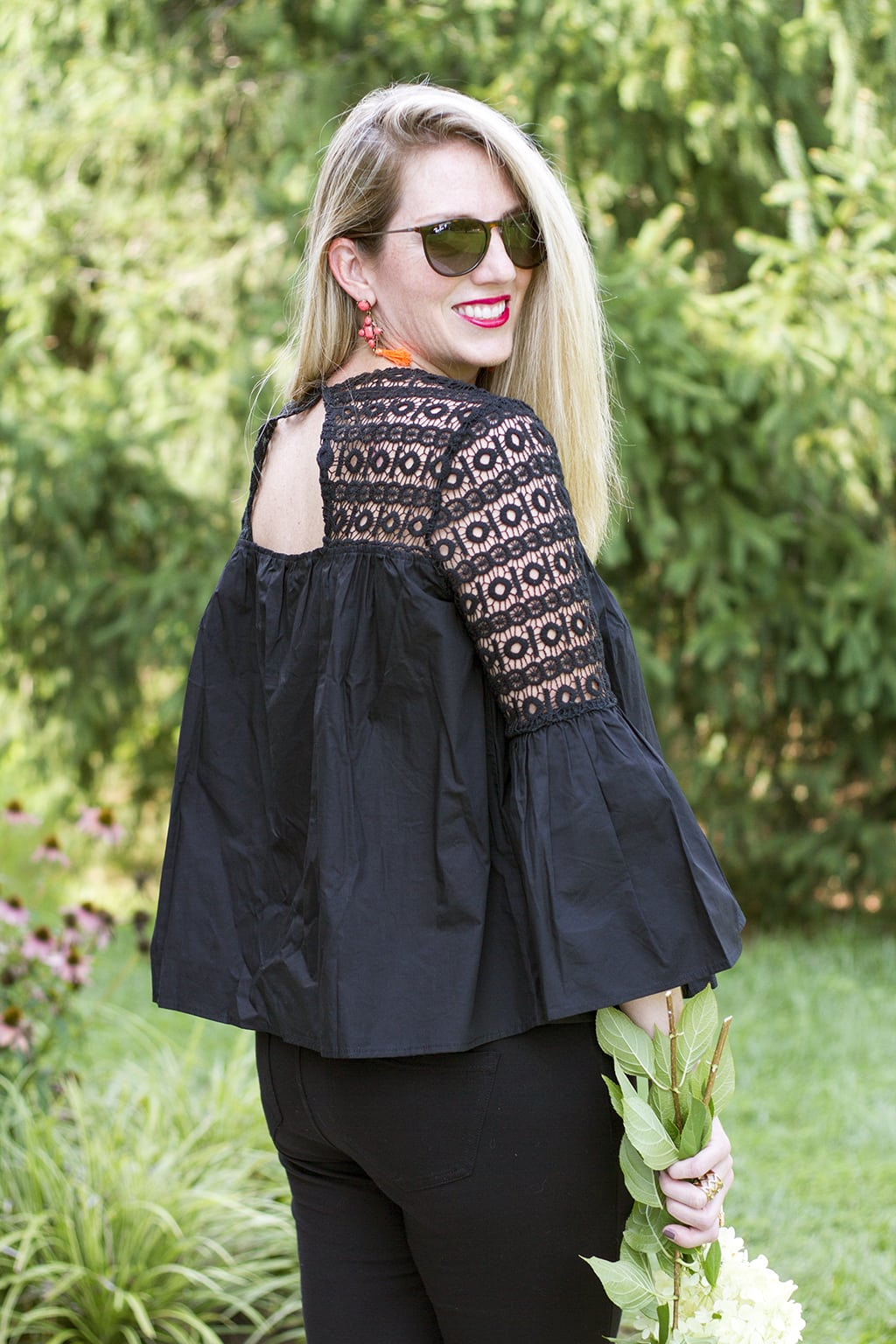 Crochet top with cutout back