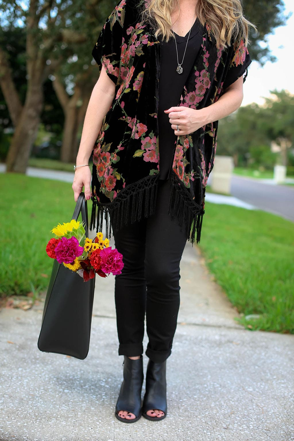 Velvet Fringe Kimono for a Party