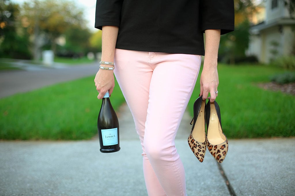 Pale Pink Cropped Jeans