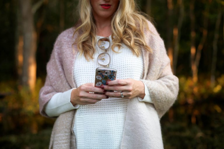 White Lightweight Sweater for Fall