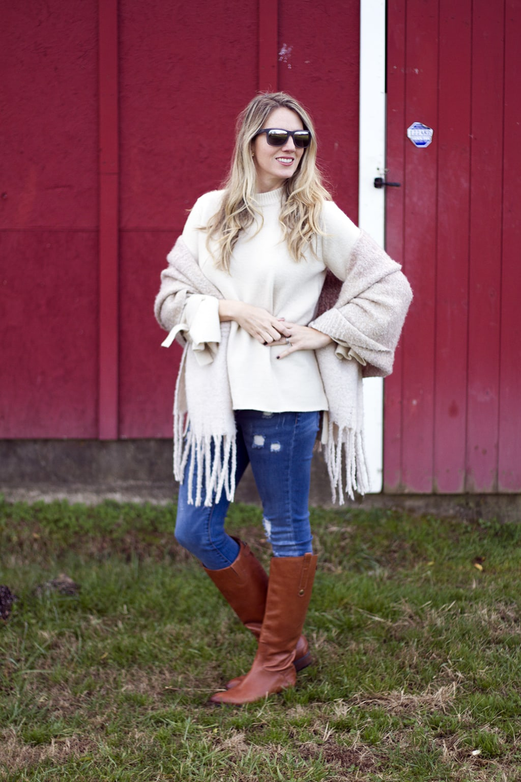 Cream sweater with statement sleeves