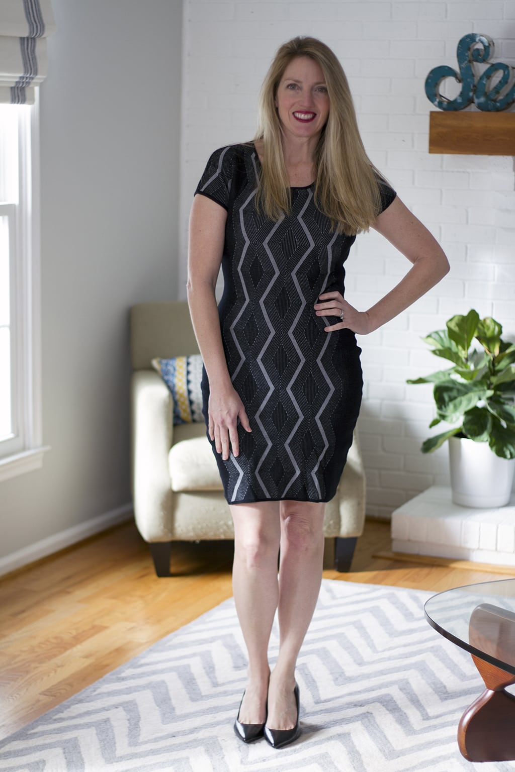 Black and Grey Knit Dress