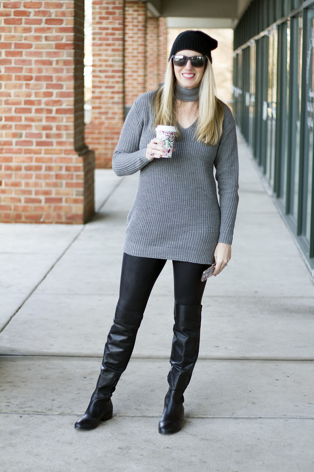 Grey Choker Sweater and Leggings