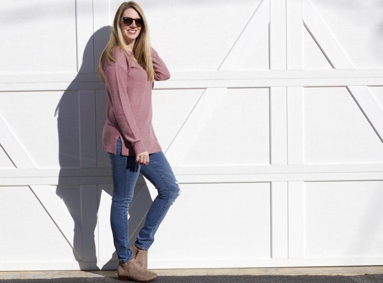 Pink Criss Cross Tunic Sweater