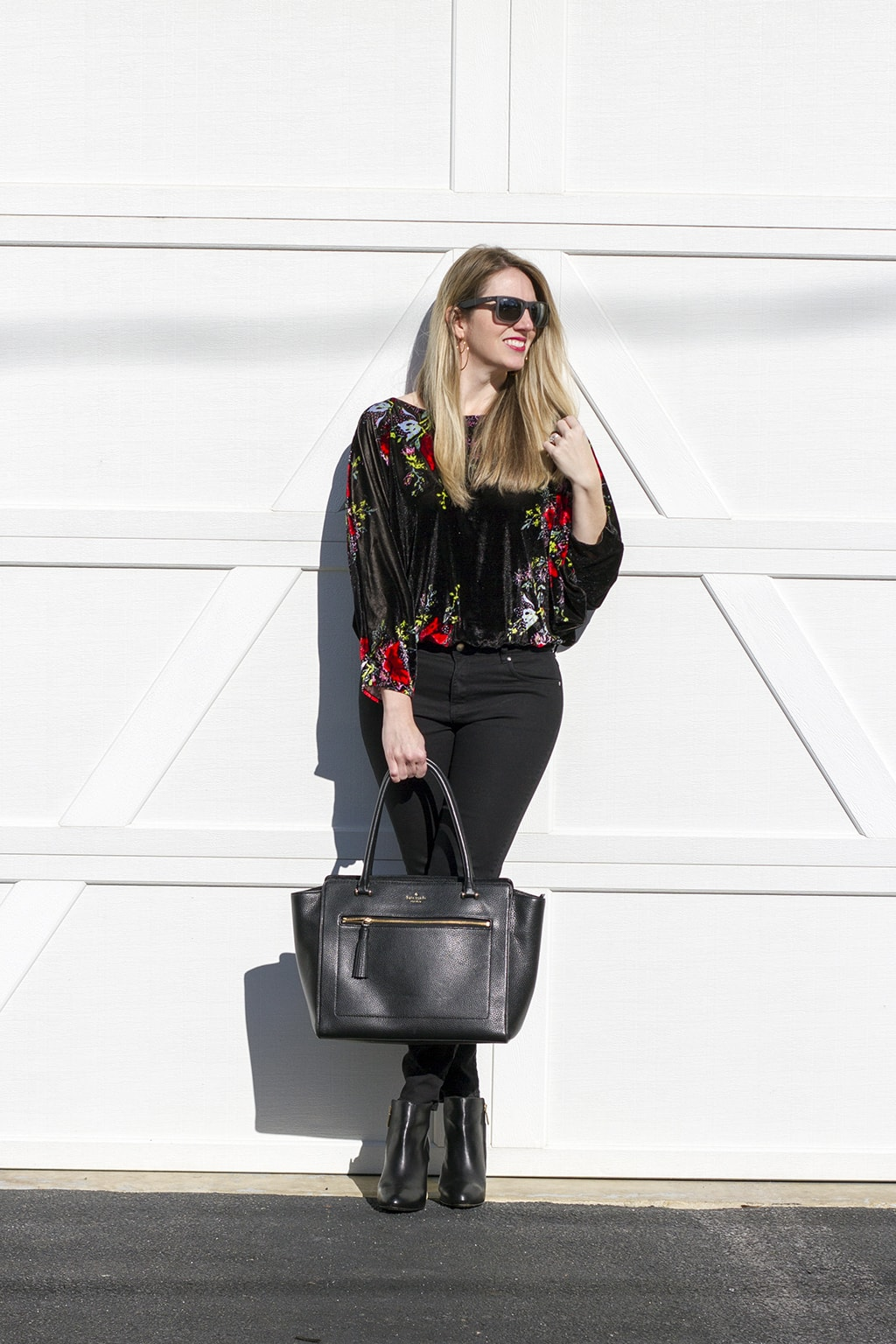 Velvet Bodysuit and Kate Spade Bag