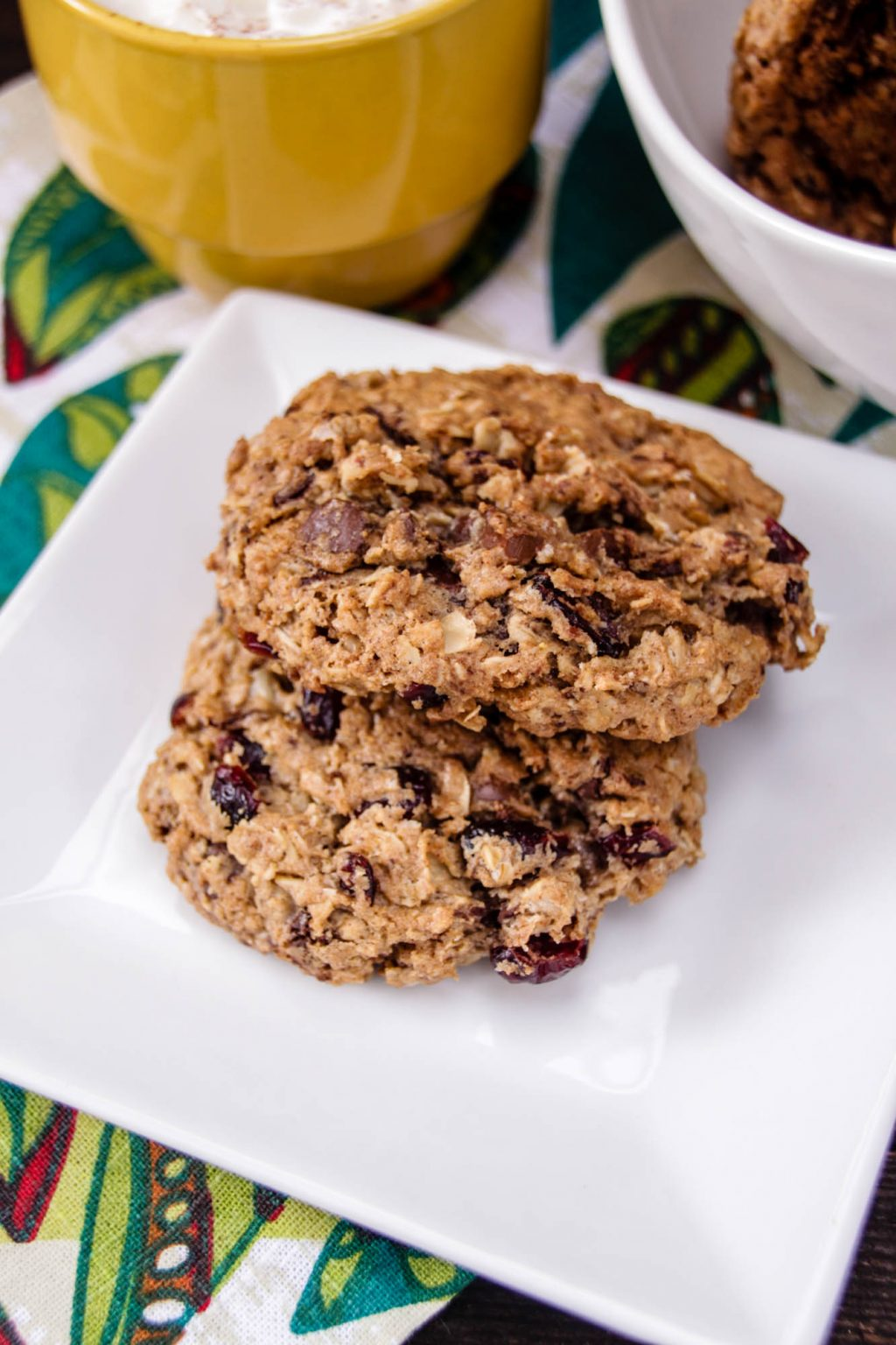 Cherry Chocolate Chunk Oatmeal Cookies on white plate
