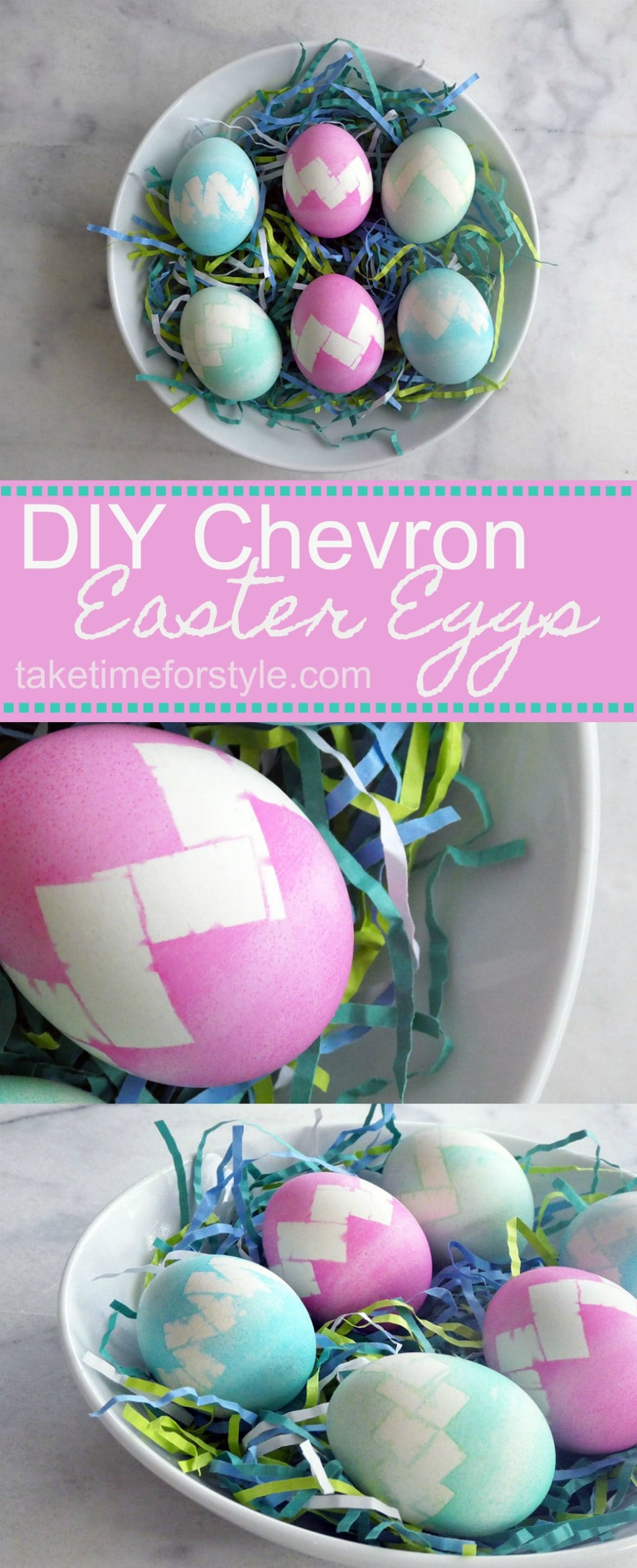 how to make chevron easter eggs