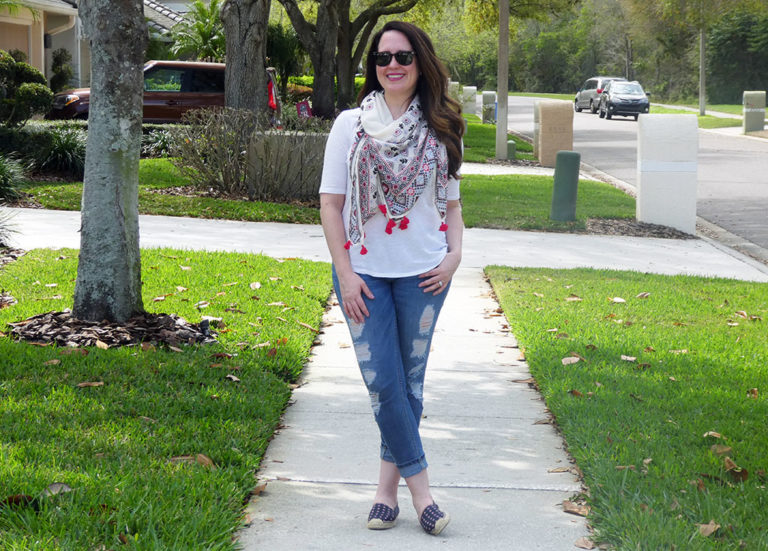 Casual Spring Scarf Outfit and Shopbop Sale Picks