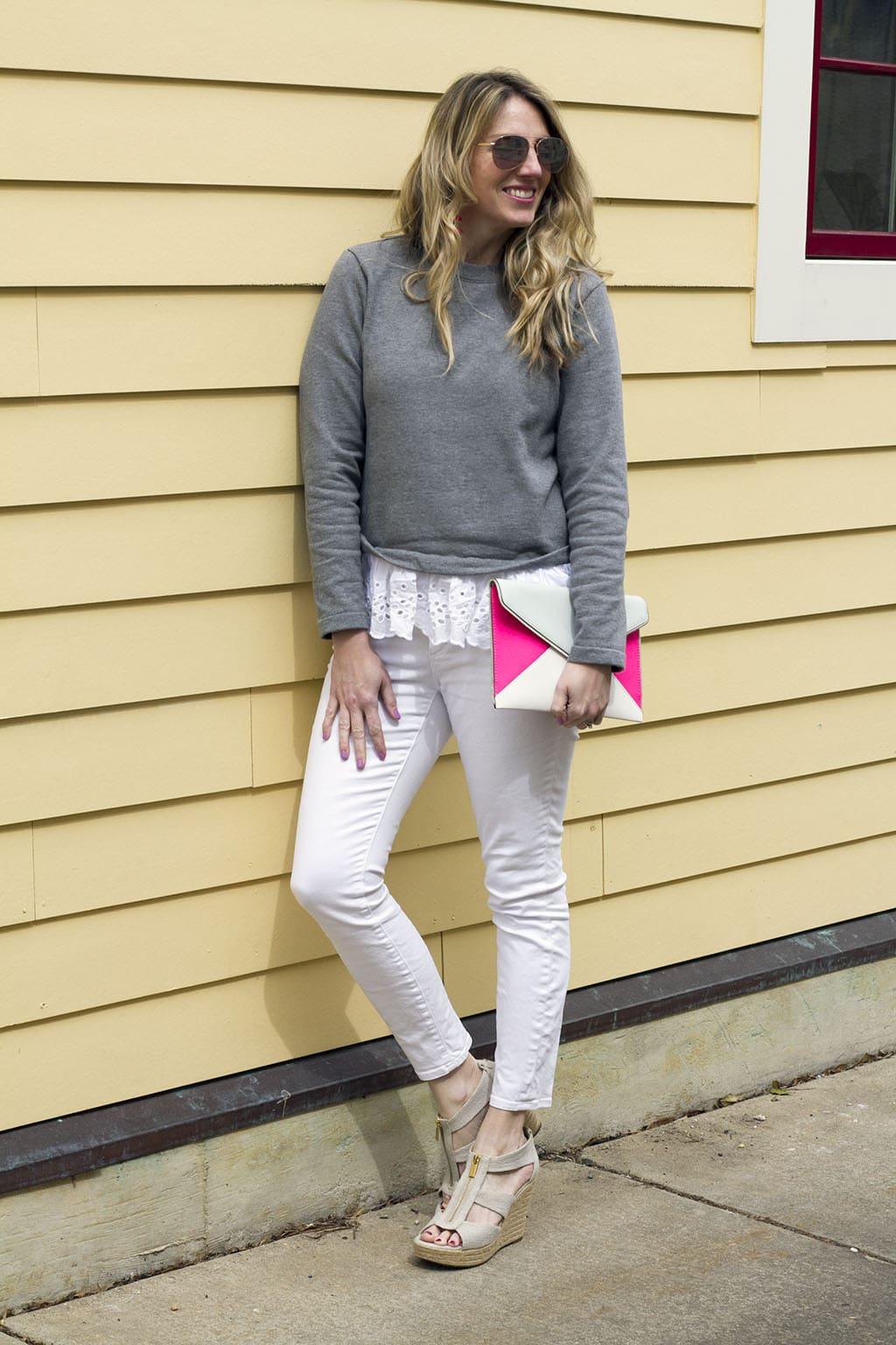 Lace Hemmed Sweatshirt