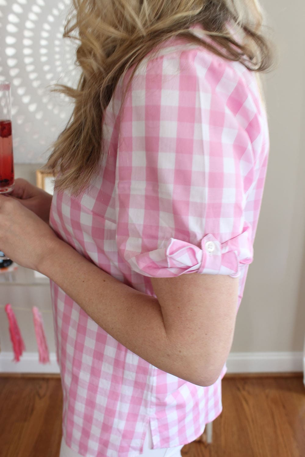 Gingham Tie Sleeve Top