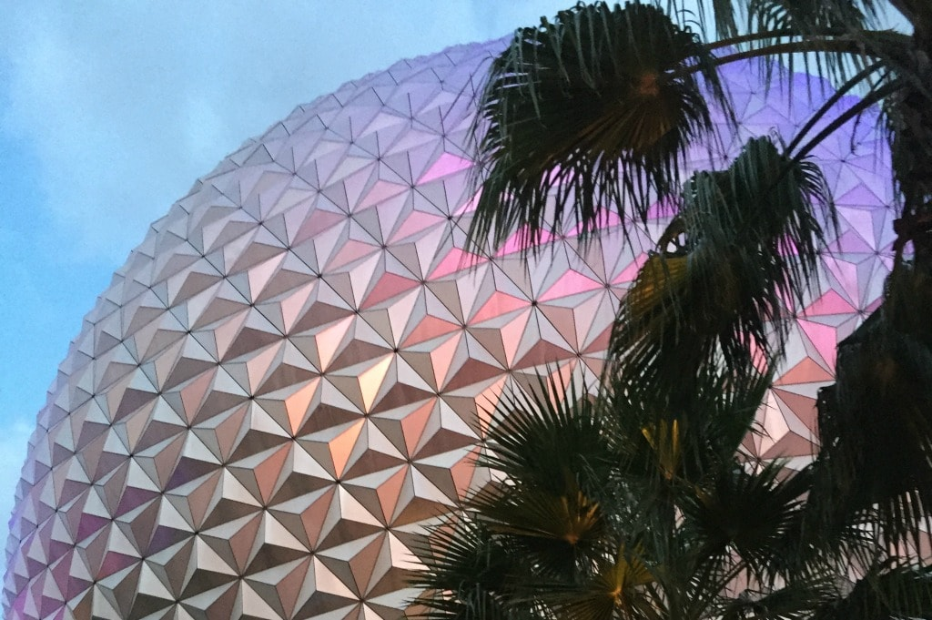 epcot golf ball at sunset