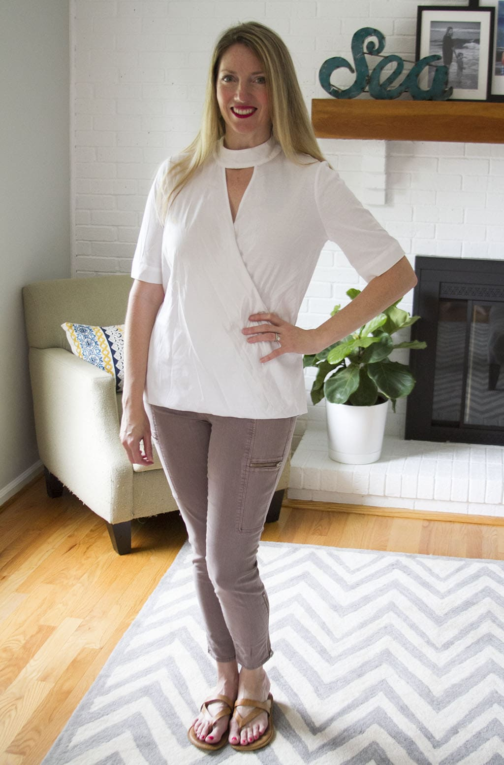 Stitch Fix White Collared Top