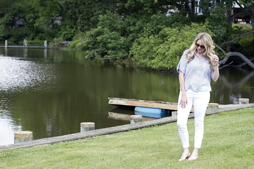 Striped shirt at a lake