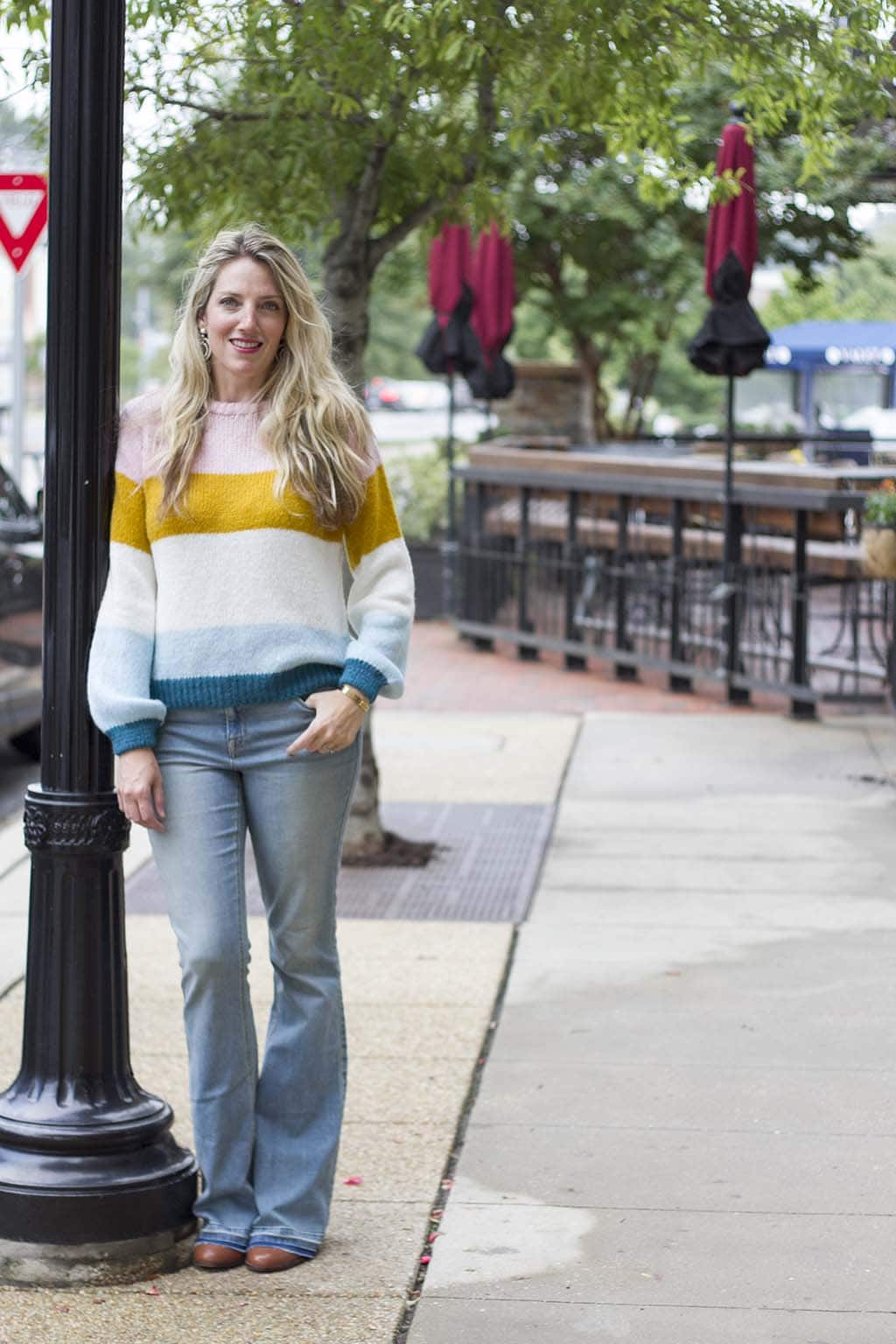 Striped Sweater and Flare Jeans