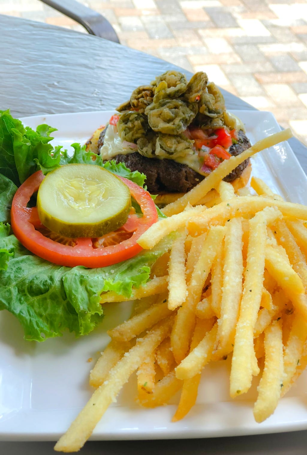 fiesta burger and truffle fries at market salamander grille