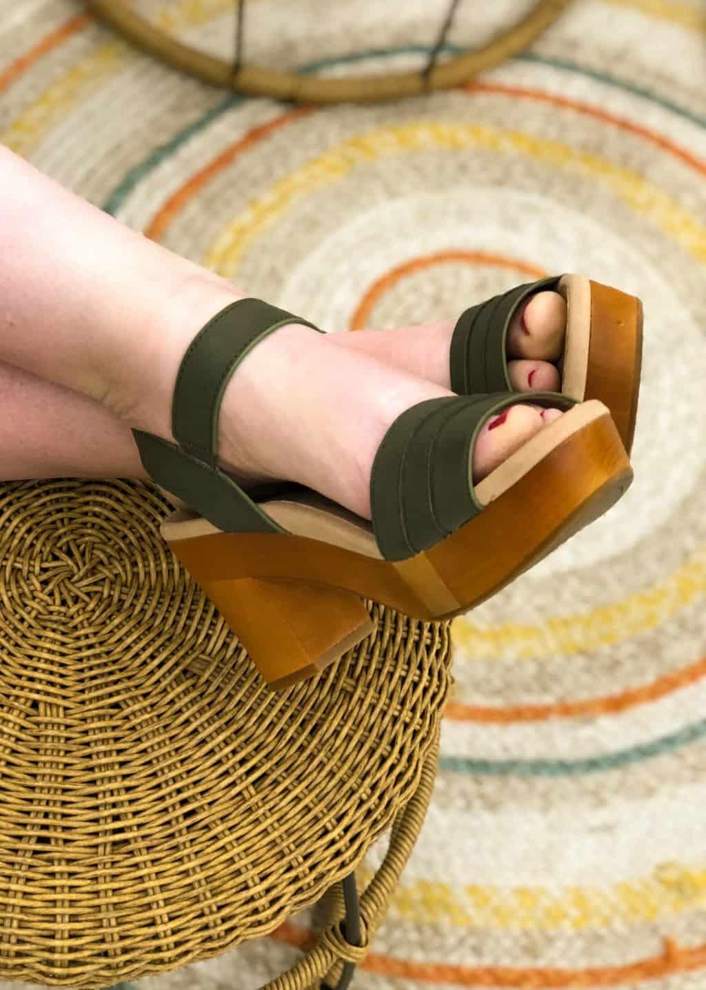 seventies style platform sandals