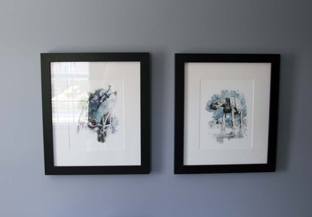 Star Wars Watercolor Artwork with Tie Fighter and At At