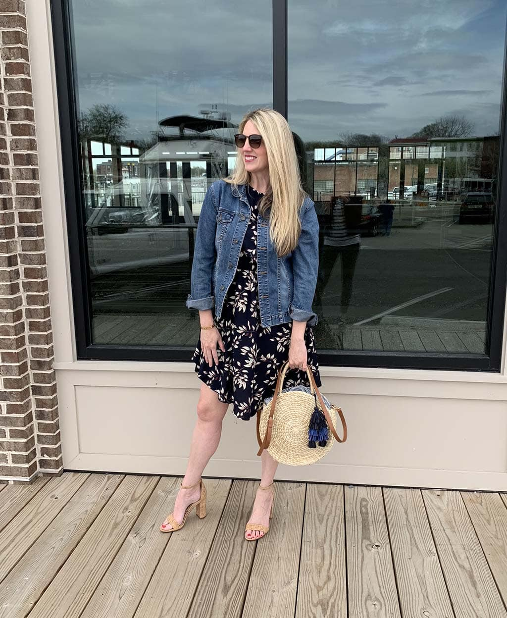 Navy floral stitch fix dress spring
