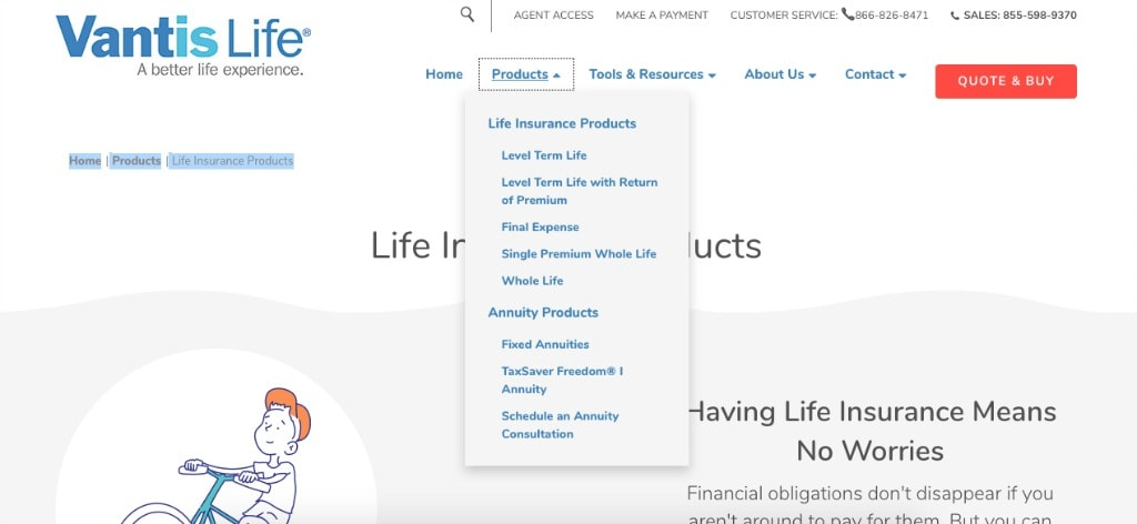 Vantis Life website