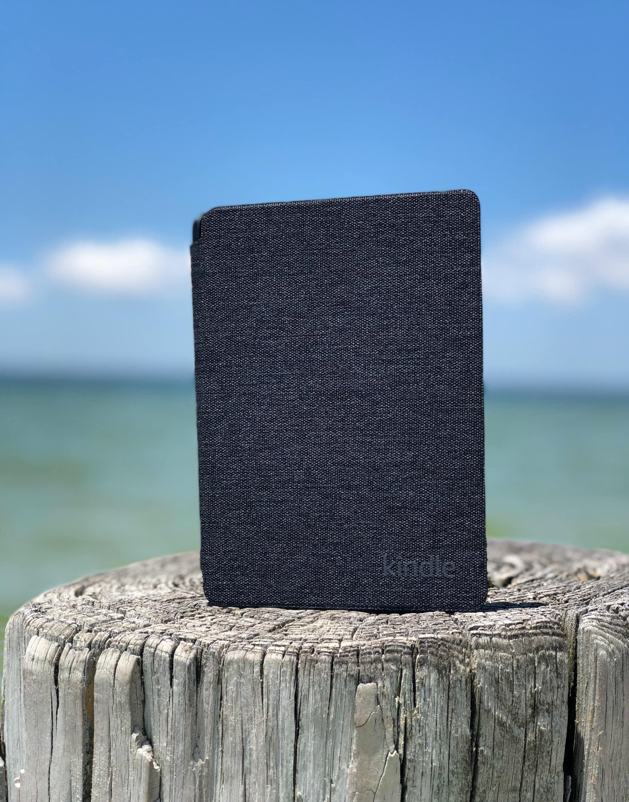 kindle e-reader on the beach