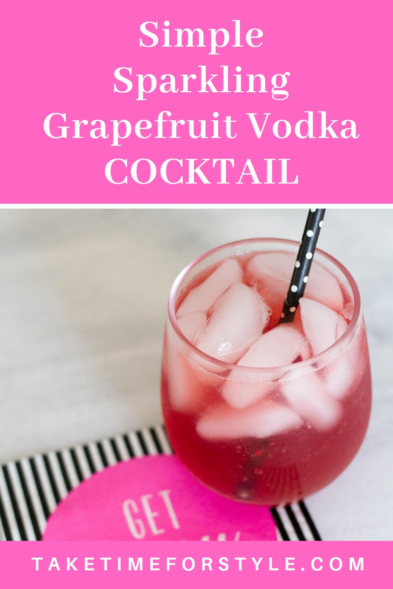 Find out how to make this sparkling grapefruit cocktail recipe. You need a grapefruit drink that looks this pretty on your white countertop! It tastes great too btw. Haha!