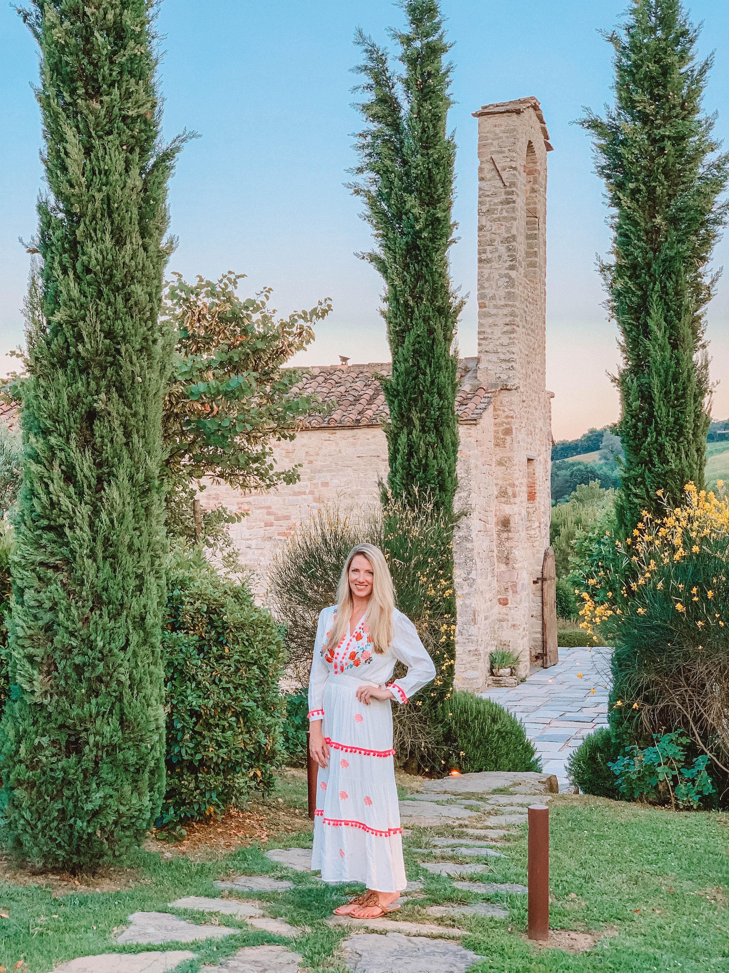 woman standing in garden in Umbria, Italy