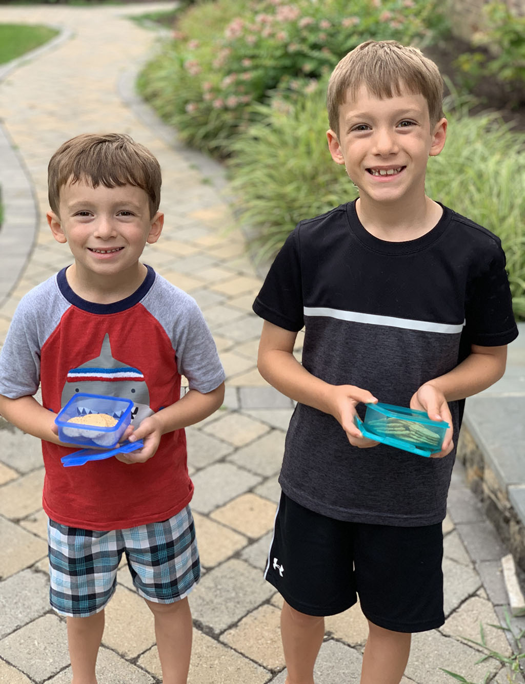 Smiling Boys with Nut Thins