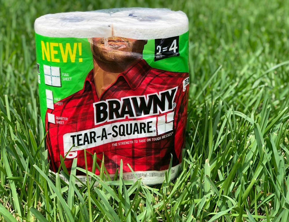 Brawny paper towels in grass