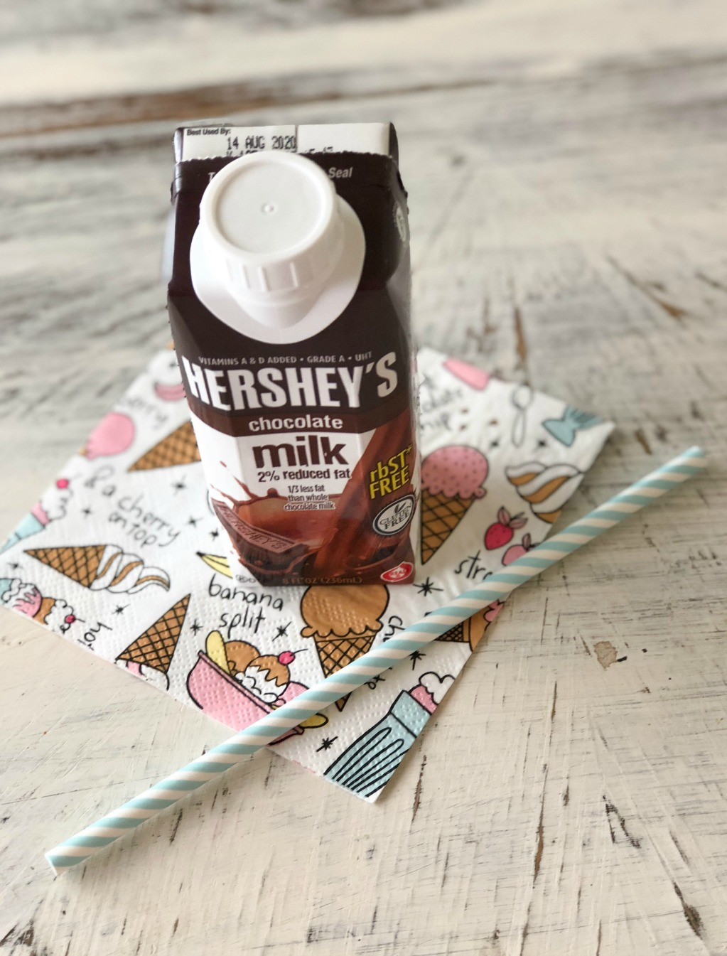 hershey's shelf stable milk and straw on napkin