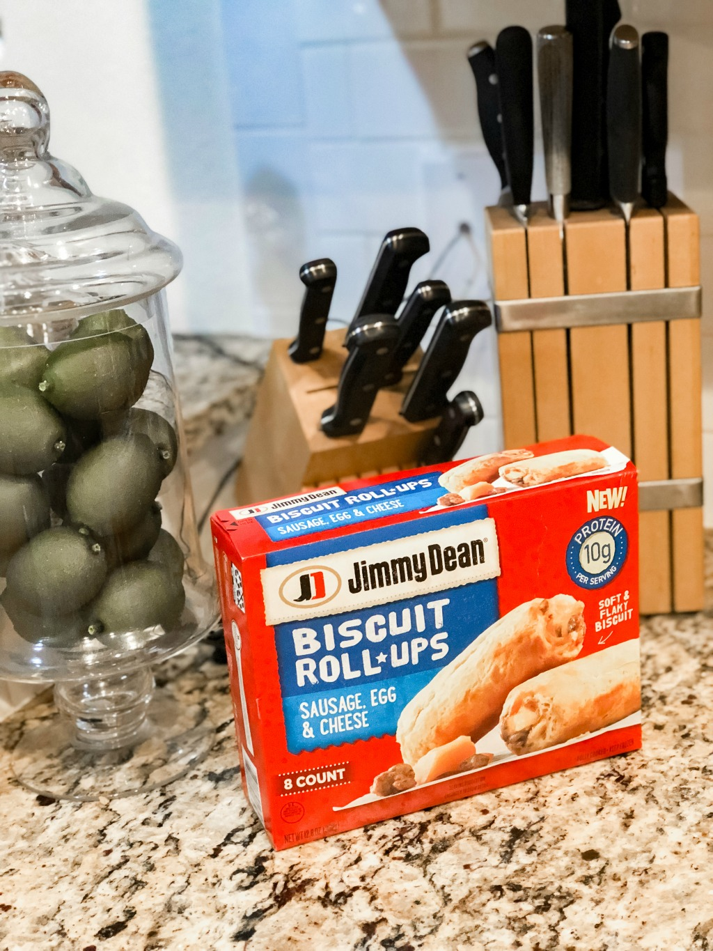 jimmy dean roll-ups on the go breakfast on brown granite counter