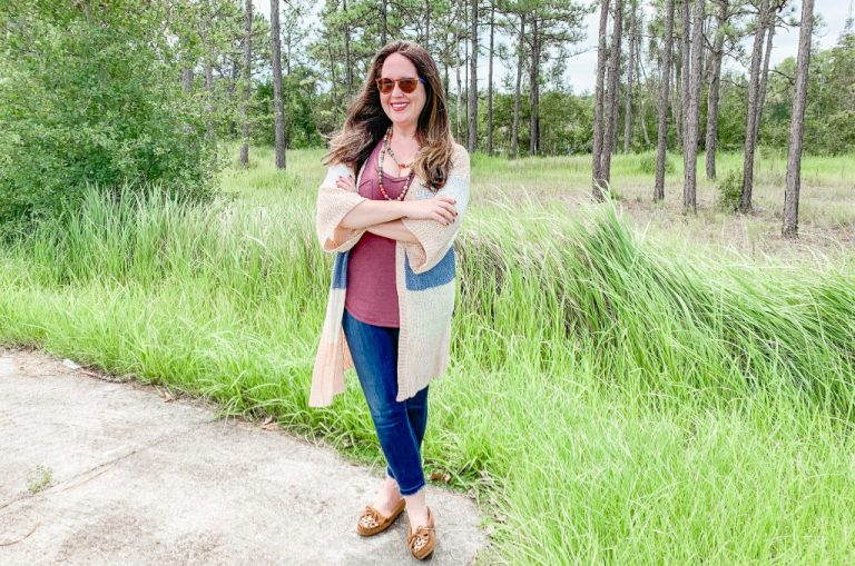 Early Fall Kimono Sweater Look for Moms