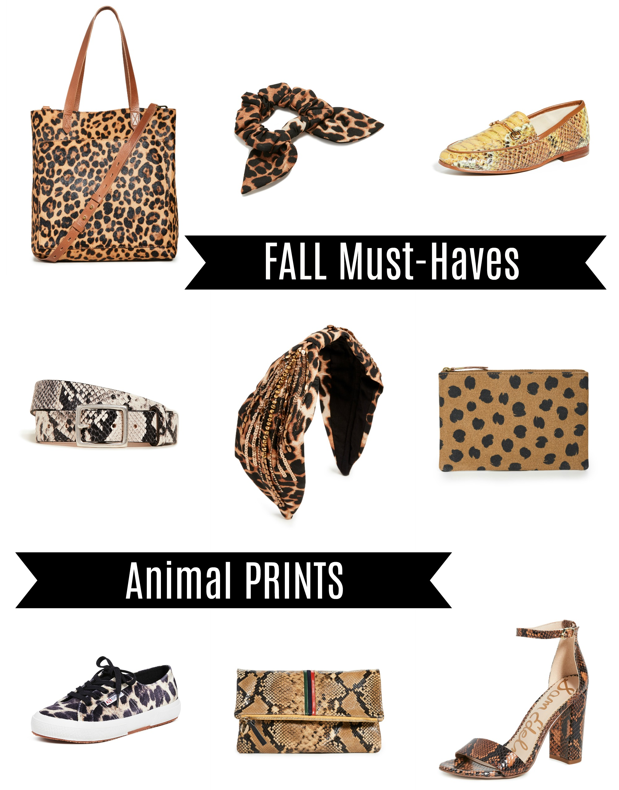 collage of animal print shoes, bags and accessories for fall